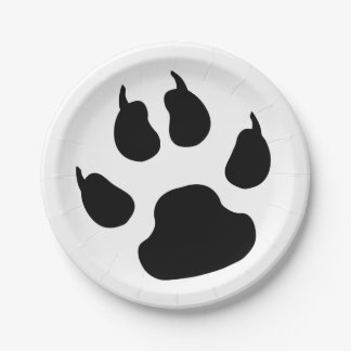 Paw print 7 inch paper plate