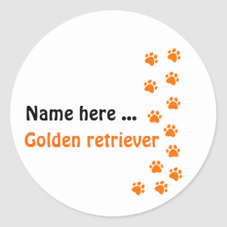 Paw print - add your own name or dog breed round sticker