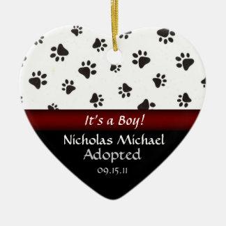 Paw Print Adoption Announcement Keepsake Christmas Ornament