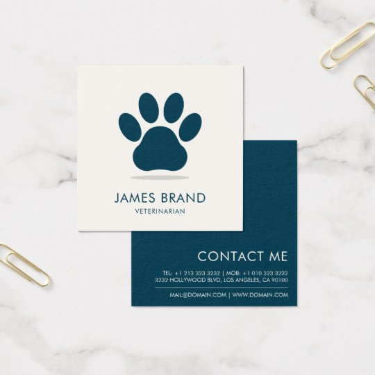 Paw Print Animal Care Square Business Card