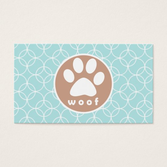 Paw Print; Baby Blue Circles Business Card