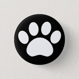 Paw Print: Black Button