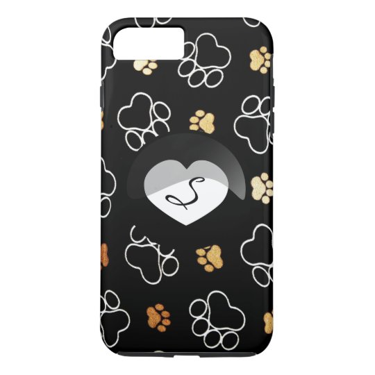 Paw Print Black Dog Cat Heart Monogram iPhone