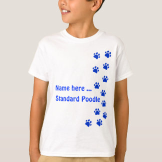 Paw print blue - add your own name or dog breed T-Shirt