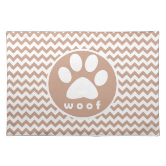 Paw Print; Brown Chevron Placemat