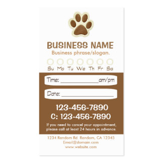 Paw print brown veterinarian appointment cards pack of standard business cards