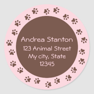 Paw print circle address label - pink and brown round sticker