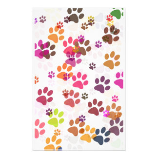 PAW PRINT COLLAGE BACKGROUND STATIONERY