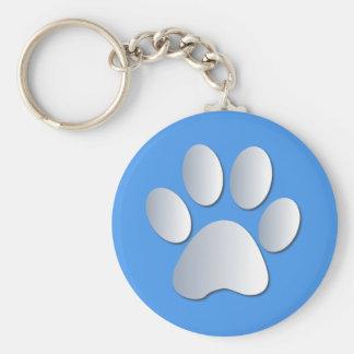 Paw print dog, cat pet silver & blue keychain