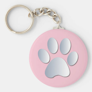 Paw print dog, cat pet silver & pink keychain