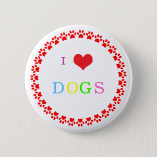 Paw print dog heart I love heart dogs button, pin