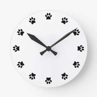 Paw print dog, pet, cat fun wall clock