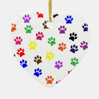 Paw Print dog pet colorful heart ornament
