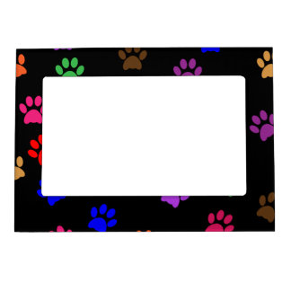 Paw print dog pet colorful pattern background magnetic frame
