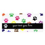 Paw print dog pet colourful fun custom bookmark rack card