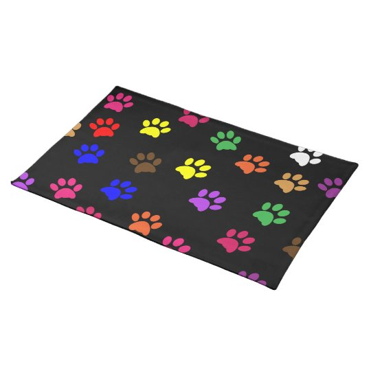 Paw print dog pet colourful fun placemat