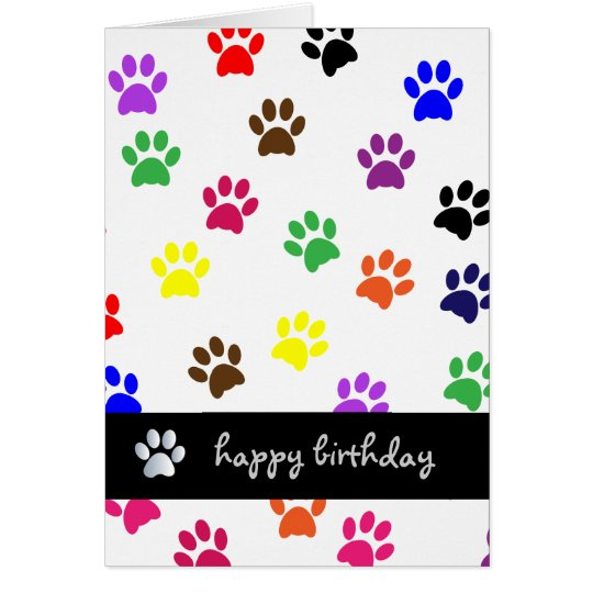Paw print dog pet colourful happy birthday card