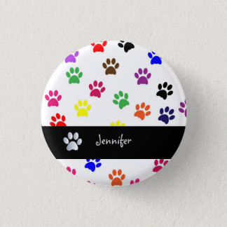 Paw print dog pet custom girls name fun button pin
