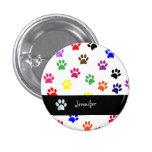 Paw print dog pet custom girls name fun button pin