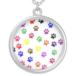 Paw print dog pet fun colorful pendant, necklace