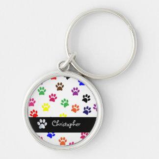 Paw print dog pet fun custom boys name keychain