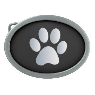 Paw Print dog pet silver black pattern belt buckle