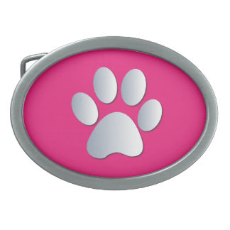 Paw Print dog pet silver pink pattern belt buckle