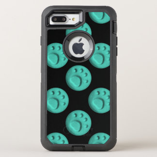 Paw Print Dot - Teal OtterBox Defender iPhone 8 Plus/7 Plus Case