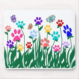 Paw print flower garden Mass Production Mouse Pad