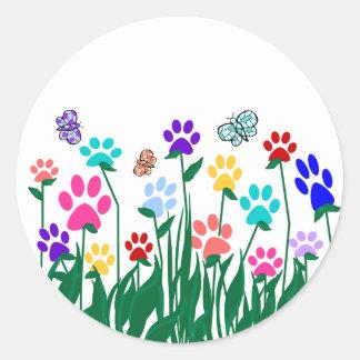 Paw print garden stickers
