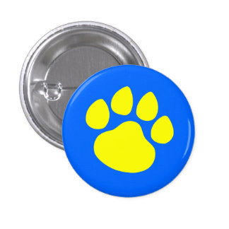 Paw Print Gold on Blue 3 Cm Round Badge