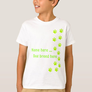 Paw print green - add your own name or dog breed T-Shirt