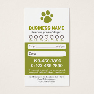 Paw print green veterinarian appointment cards