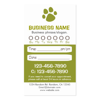 Paw print green veterinarian appointment cards pack of standard business cards