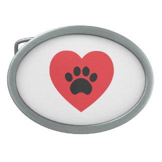 Paw Print Heart Belt Buckle