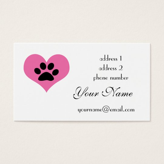 paw print heart business card