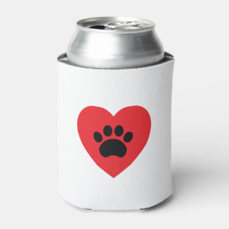Paw Print Heart Can Cooler
