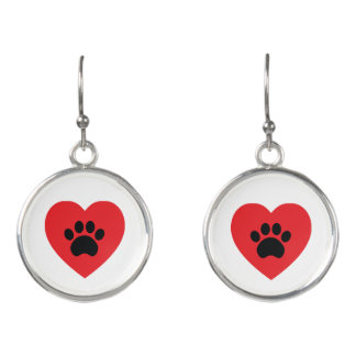 Paw Print Heart Drop Earrings