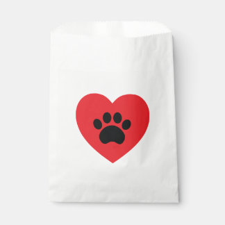 Paw Print Heart Favor Bag Favour Bags