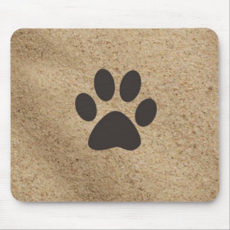 Paw Print in the sand Mouse Pad