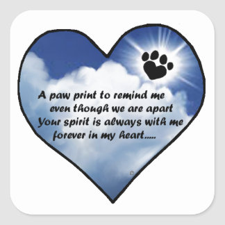 Paw Print Memorial Poem Square Sticker