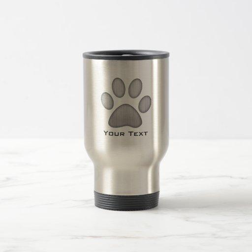 Paw Print; Metal-look Coffee Mug