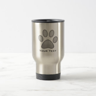 Paw Print; Metal-look Stainless Steel Travel Mug