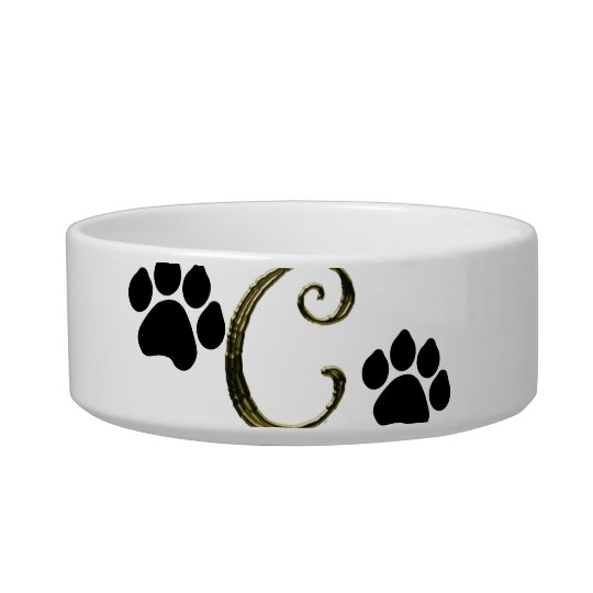 Paw Print Monogram Pet Bowl
