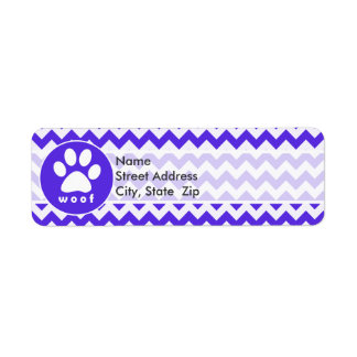 Paw Print on Blue Violet Chevron Return Address Label