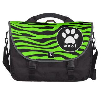 Paw Print on Bright Neon Green Zebra Stripes Commuter Bags