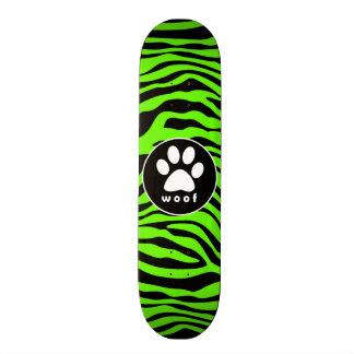 Paw Print on Bright Neon Green Zebra Stripes Skateboard Decks