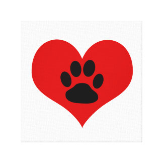 Paw Print On My Heart - Dog Canvas Print