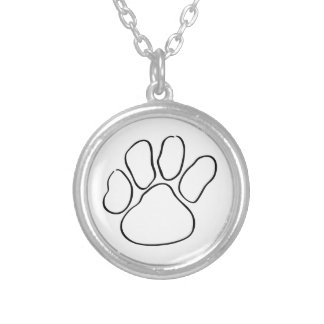 Paw Print Outline Silver Plated Necklace