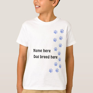 Paw print pale blue - add your name or dog breed T-Shirt